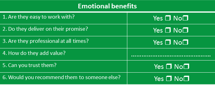 Emotional Benefits Table