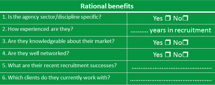 Rational Benefits Table
